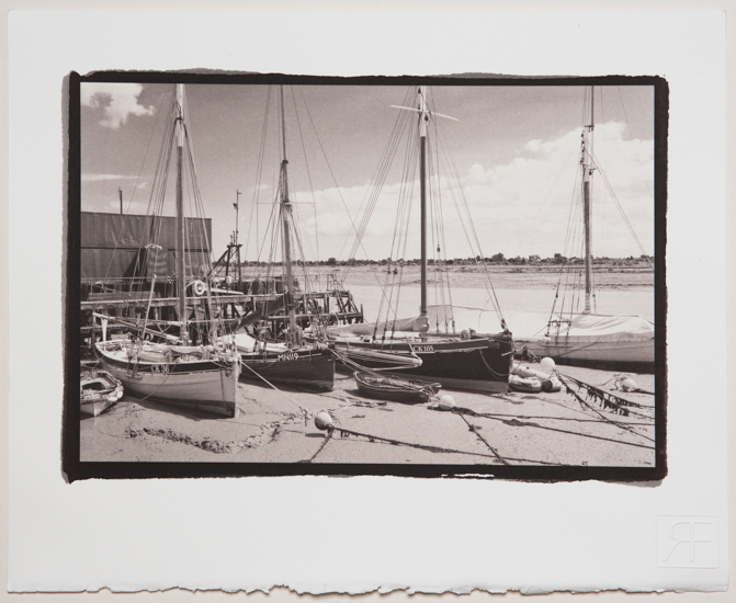 Essex Smacks in the old Aldous Smack Dock in Brightlingsea. A platinum toned salt print